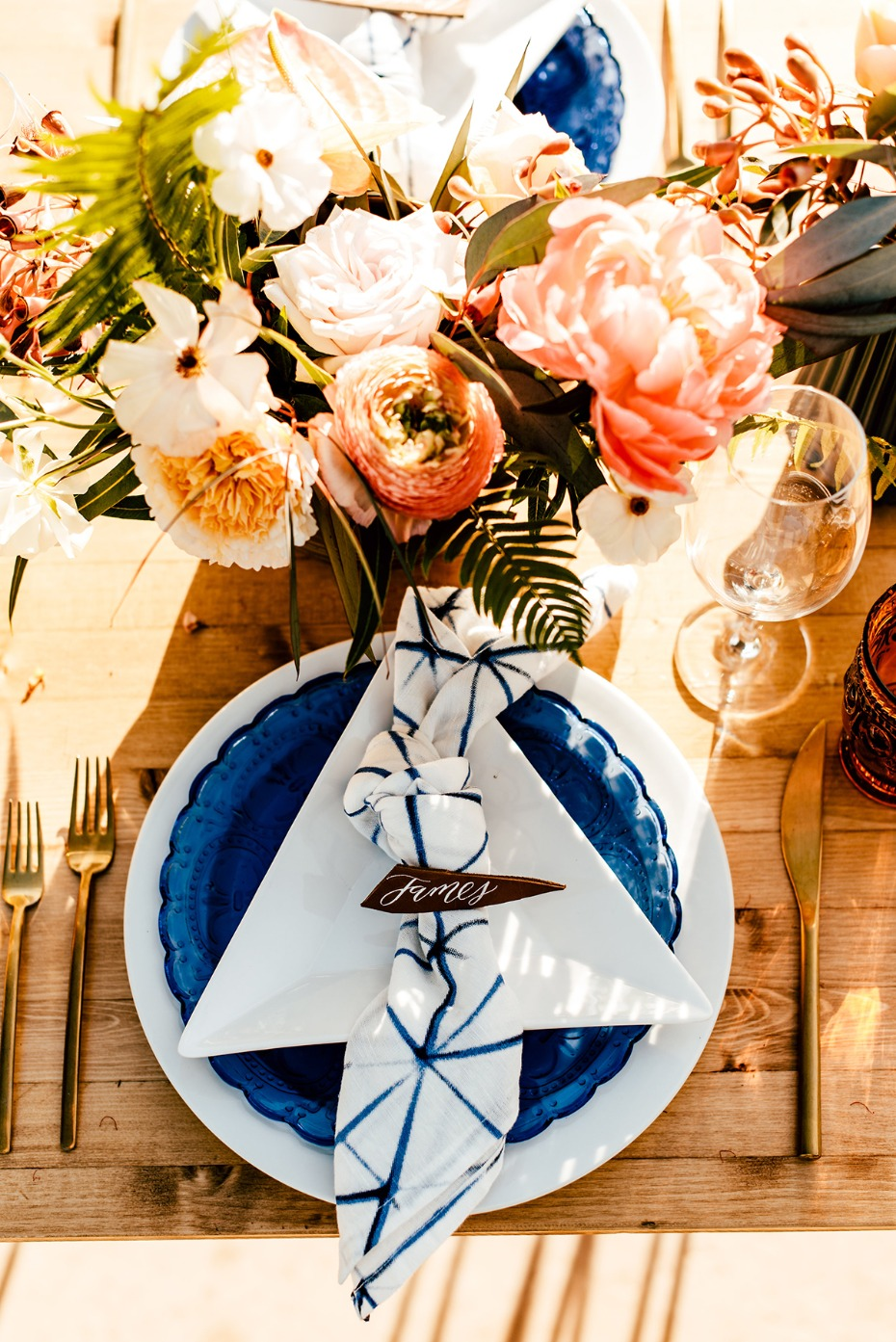 modern white and blue place setting