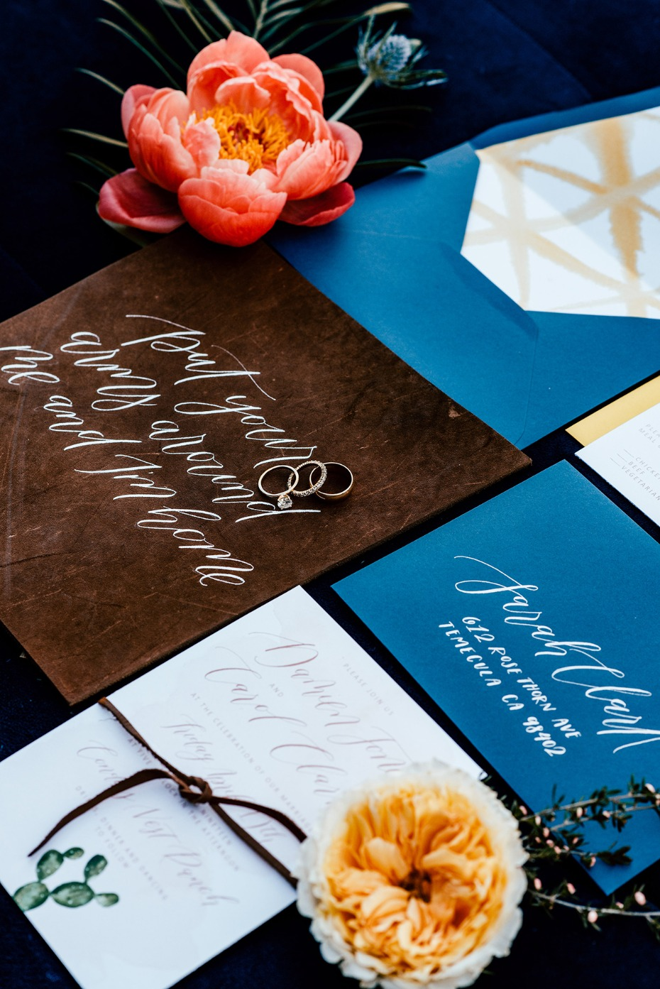 modern blue and brown wedding invitations