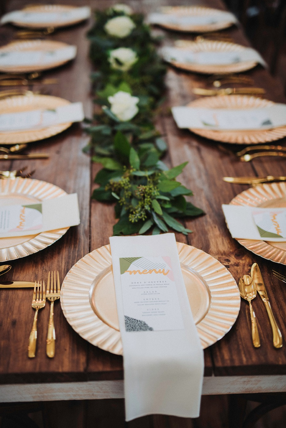 gold accented wedding table place setting