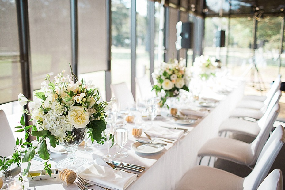 chic white formal wedding reception