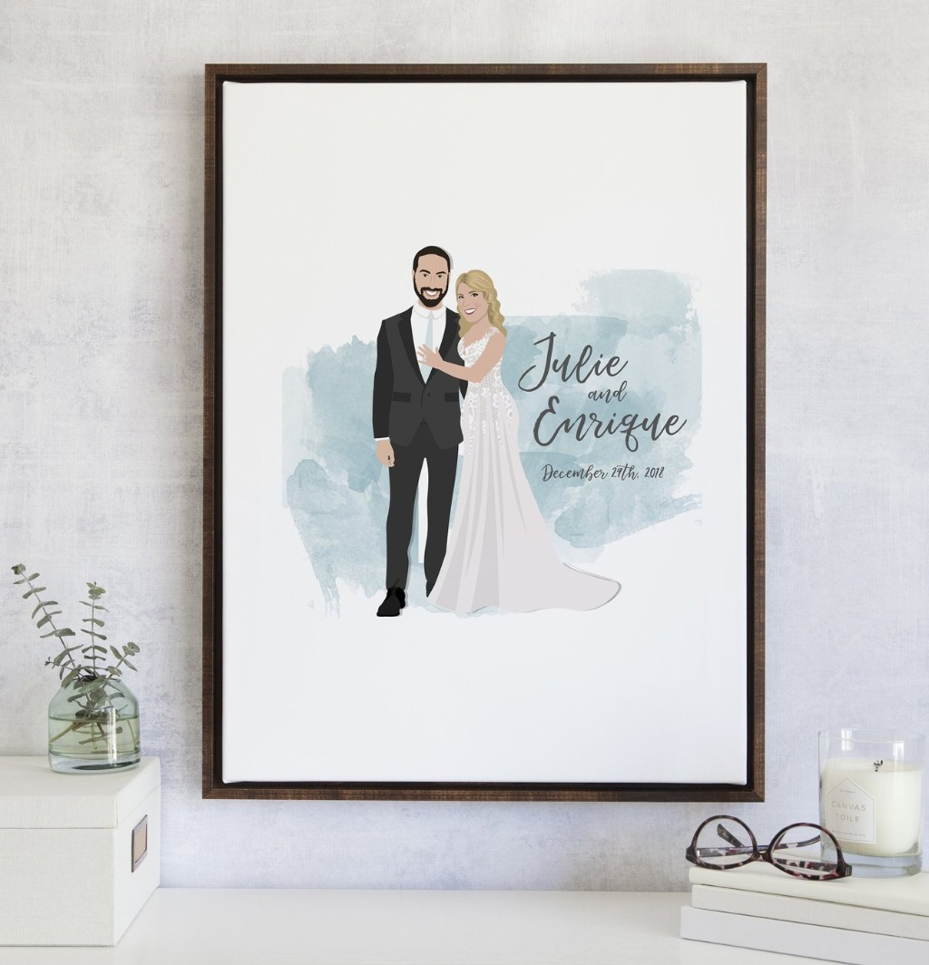 This Wedding Couple Portrait Guest Book Alternative with a Watercolor Background from Miss Design Berry is a beautiful statement piece