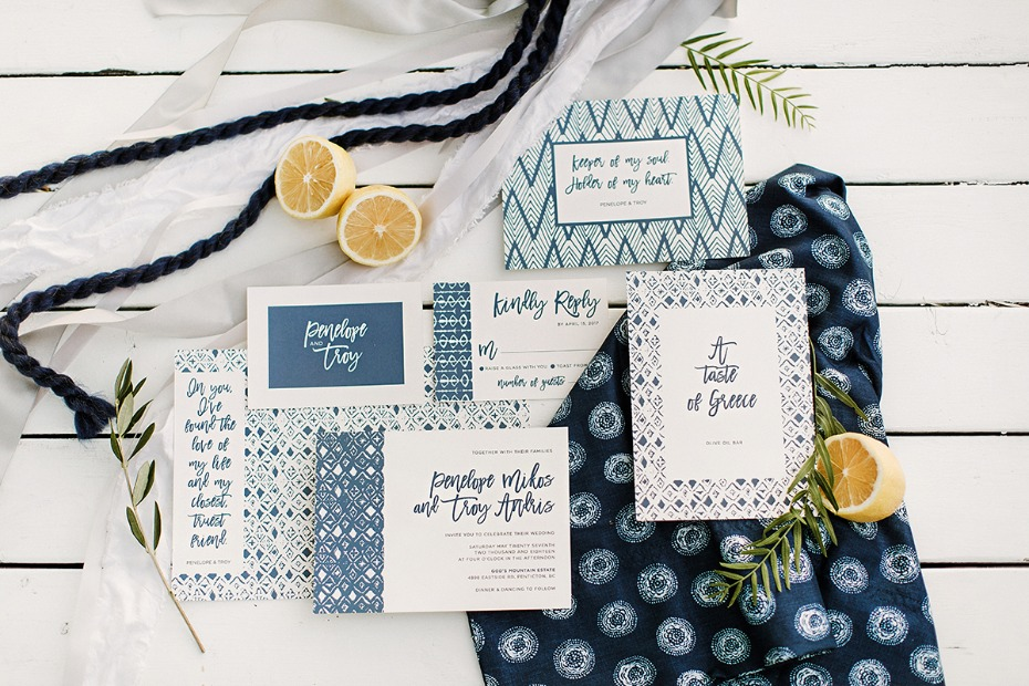 blue and white greek patterned wedding invitation suite
