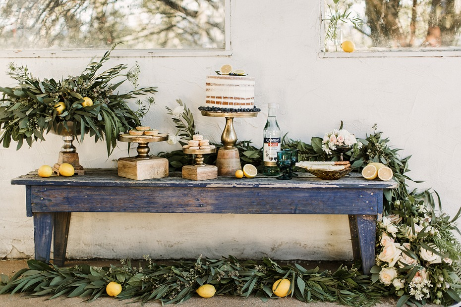 blue and white summery dessert table