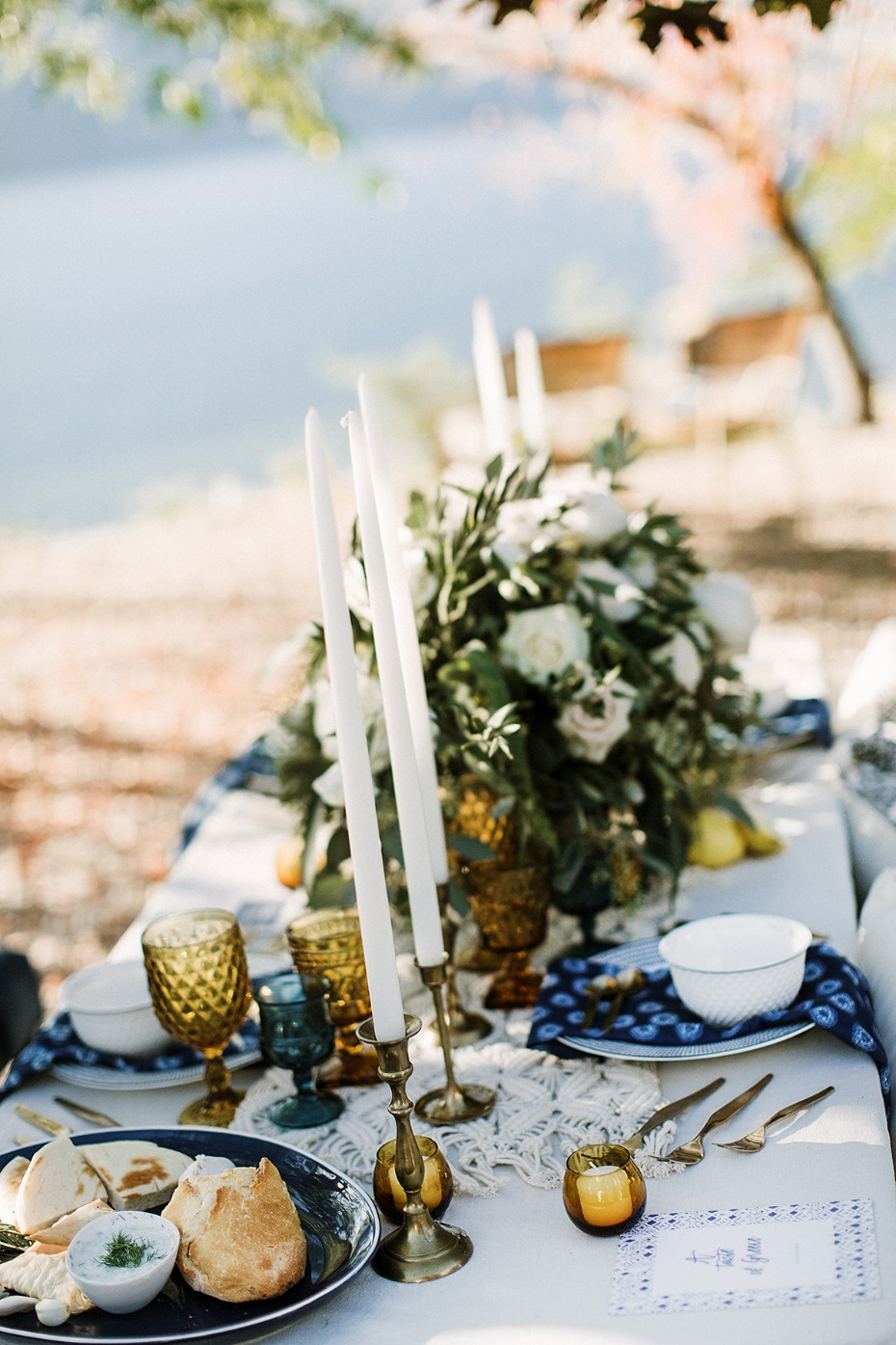 blue white and gold boho wedding table