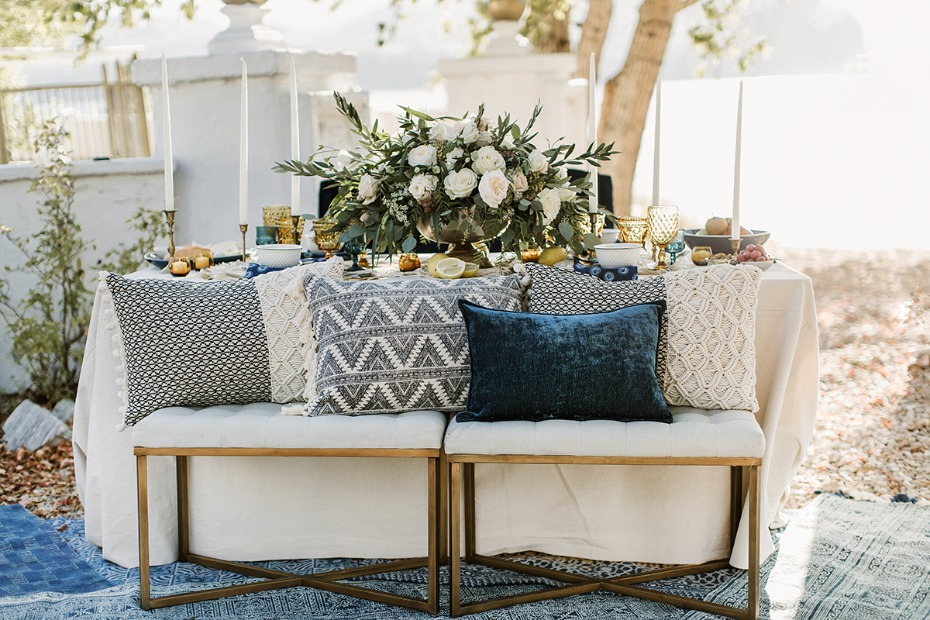 greek inspired boho wedding decor