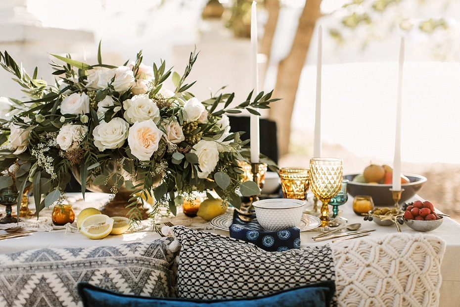 greek boho style wedding table