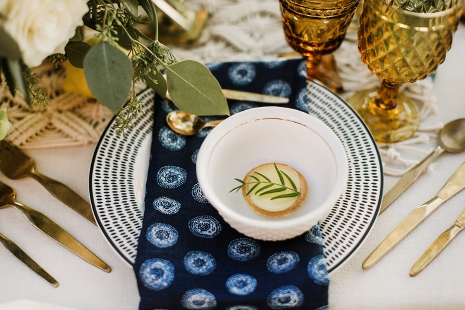 greek inspired boho wedding place setting