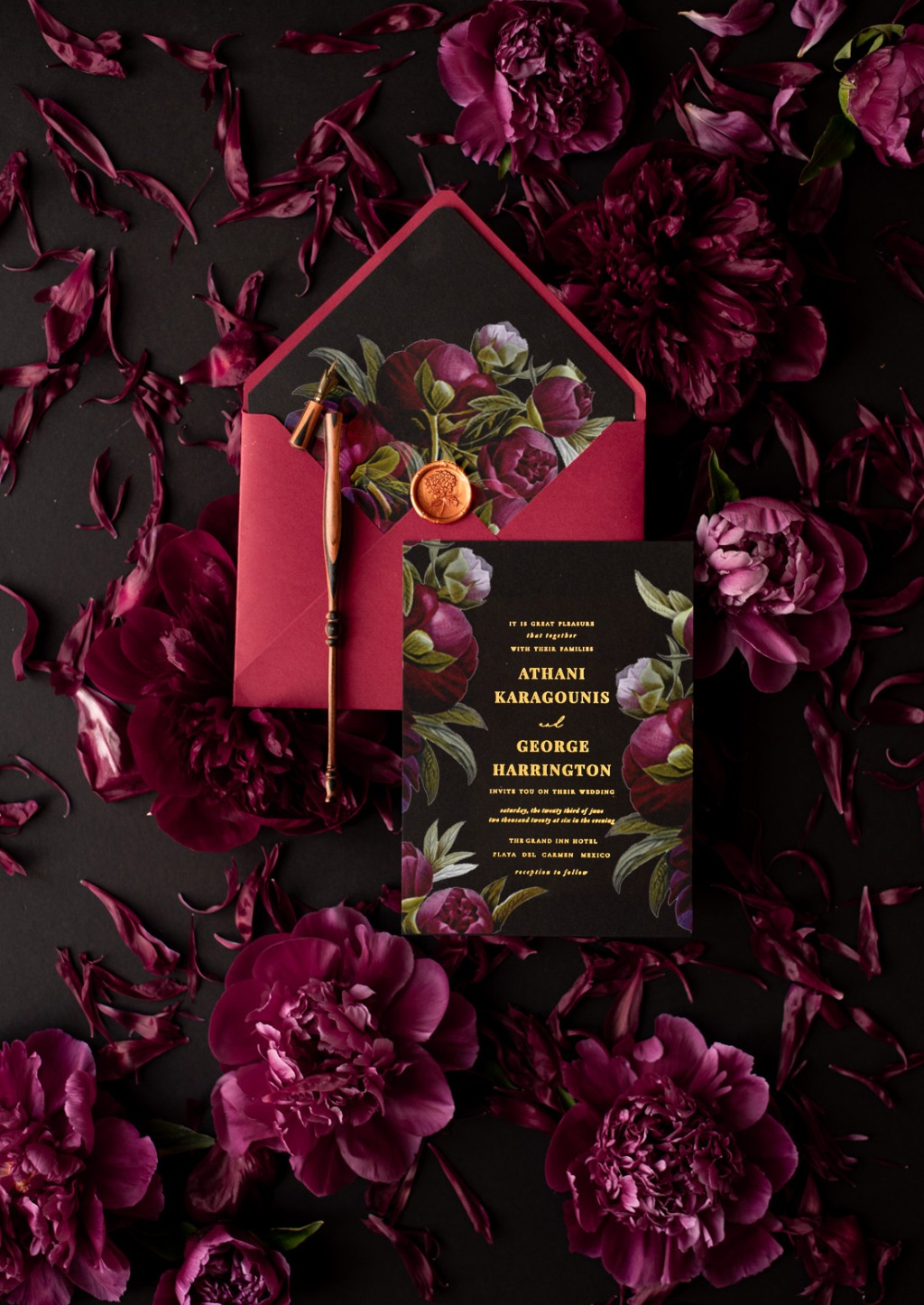 Gold and marsala invitations with beautiful peonies