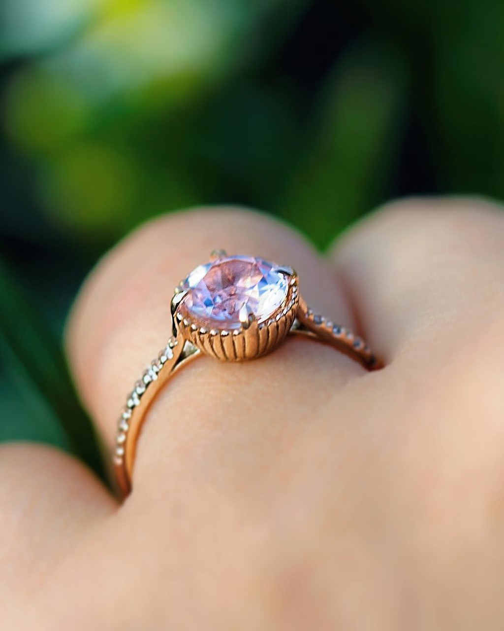 🌸💗🌜🌝 Side Shot of Our Natural Fair-Trade Morganite Recycled Rose Gold Collet Ring. Available for delivery now or email