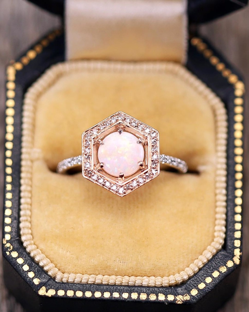 7mm Australian Opal + Rose Gold Hexagon Halo + White Good Band = the loveliest unique low profile ring 💫✨