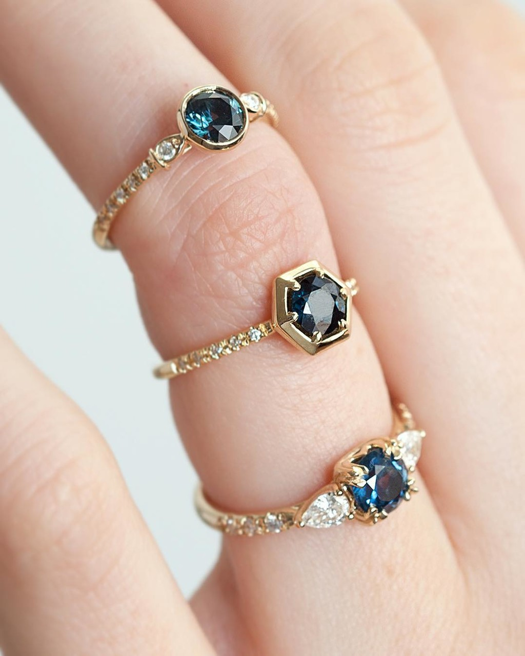 Getting past my Monday blues with New Ethically Sourced Sapphires!! 💙🔵💫 Set in beautiful one of kind rings made from recycled