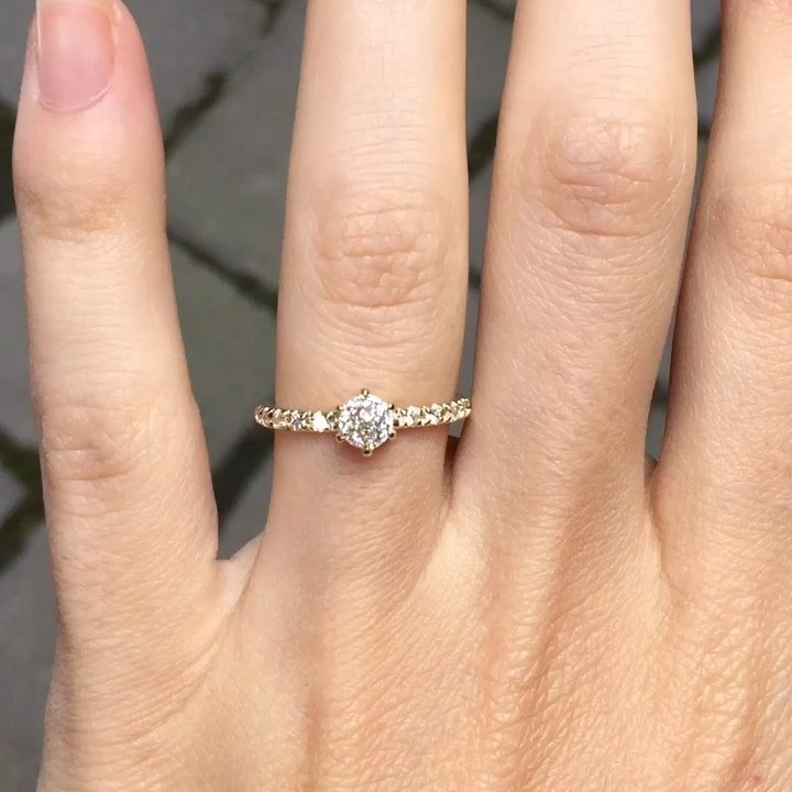 💫✨☀️ Feeling the Sunshine with our radiant Antique Diamond Rosalie Ring! Jacob picked out this diamond from a parcel of over
