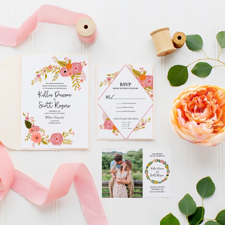 The Romantic Botanical collection. It includes all the paper goods you'll need to for your wedding day. Including the free editable