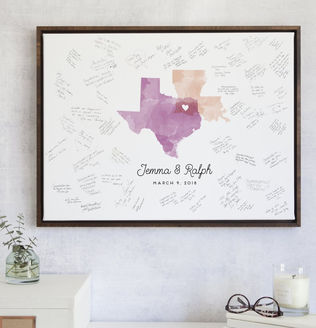 Our Watercolor Map Guest Book Alternative is definitely a bestseller! Choose the states or countries that mean the most to you, and