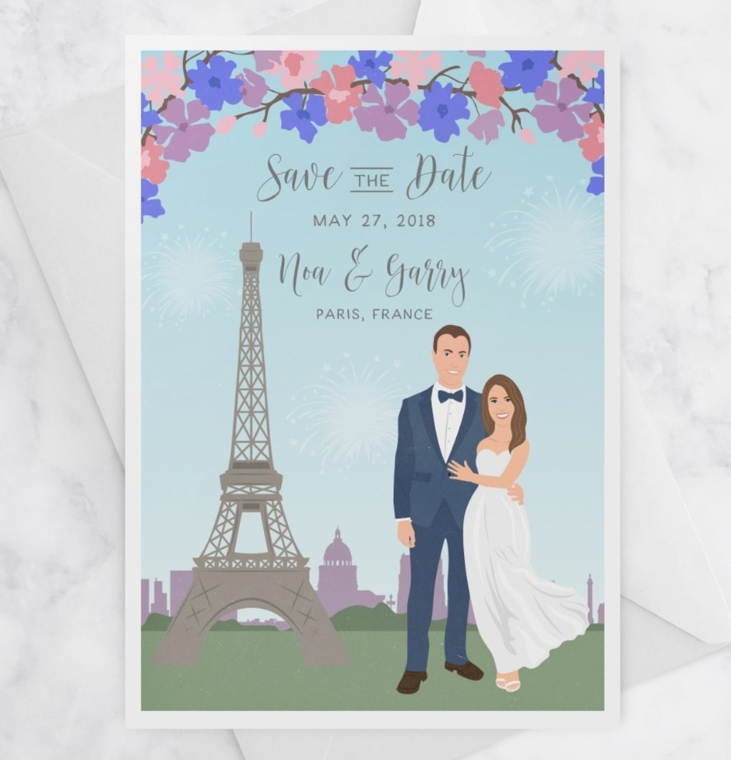 At Miss Design Berry, we love a good Save the Date! These Portrait Save the Dates with a Custom City are perfect if you're having a