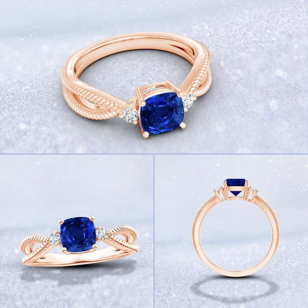 A sapphire split shank ring complete with rope detailing. Make it yours.