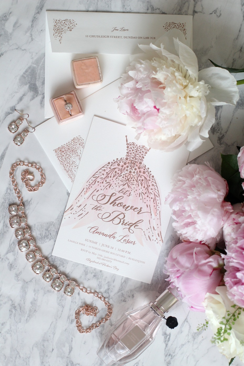 elegant pink and rose gold bridal shower wedding invites from Minted