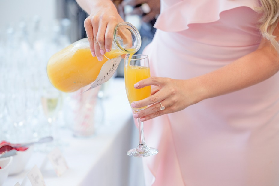 DIY Mimosa bar at bridal shower