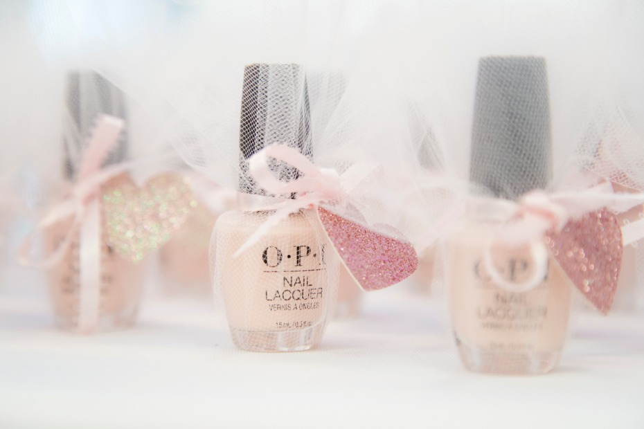 blush nail polish for bridal shower favors