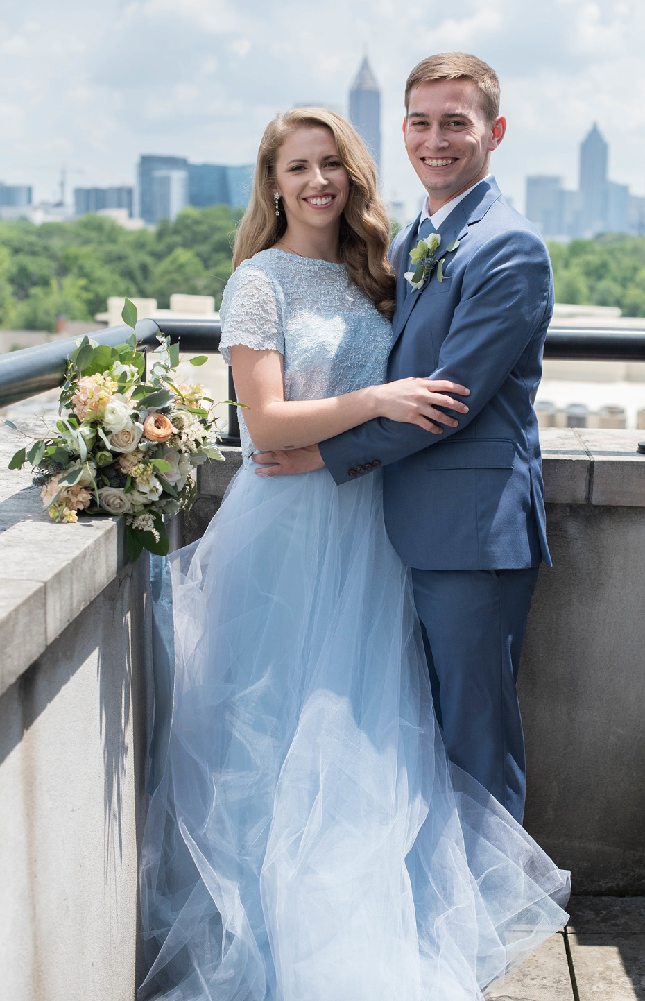 wedding couple in blue