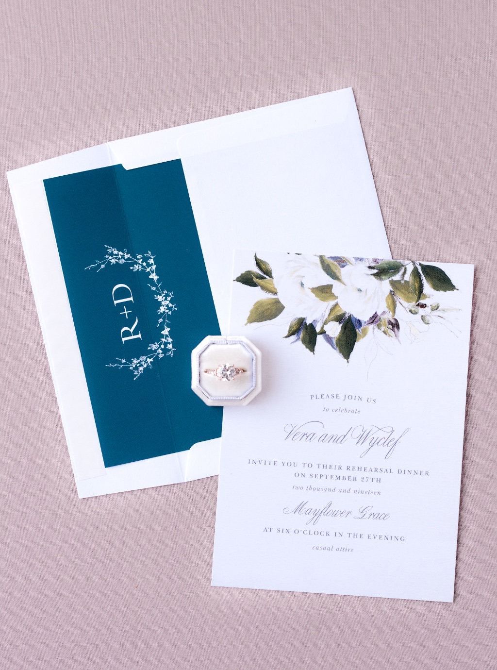 Love a good envelope detail and a monogram liner is the perfect addition to top off your design.