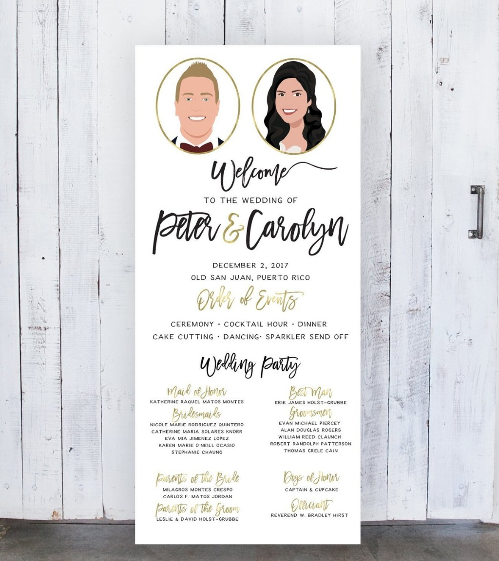 Go big, or go home with this huge Wedding Program Sign for your big day!! It features portraits of the bride and groom along with your