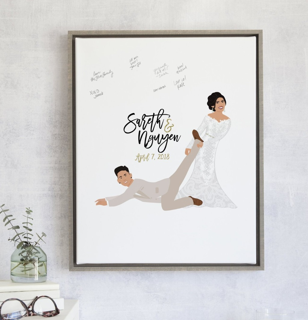 At Miss Design Berry, we create fun and unique designs for every bride and groom!! This listing features a hilarious scene of a bride