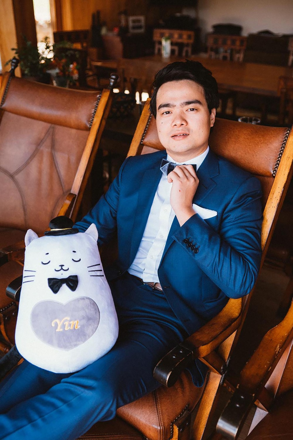groom and cute cat plushie