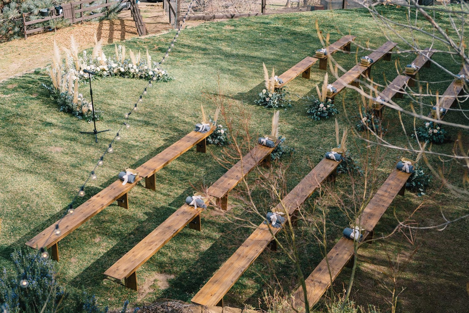 rustic chic wedding ceremony decor outside