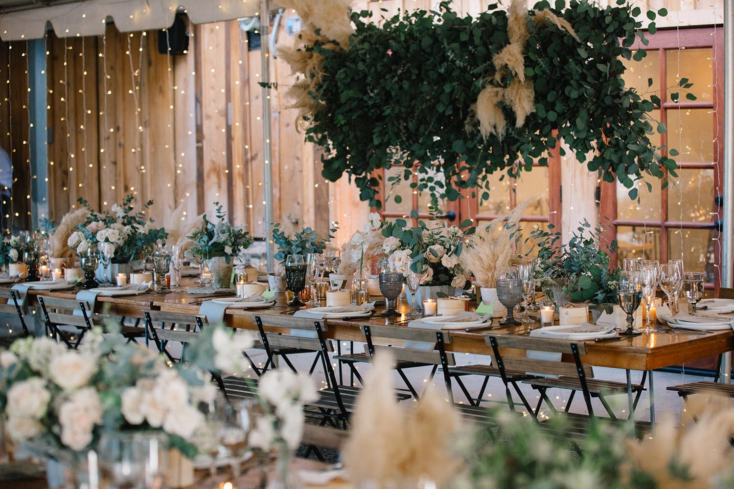 romantic neutral toned wedding reception decor