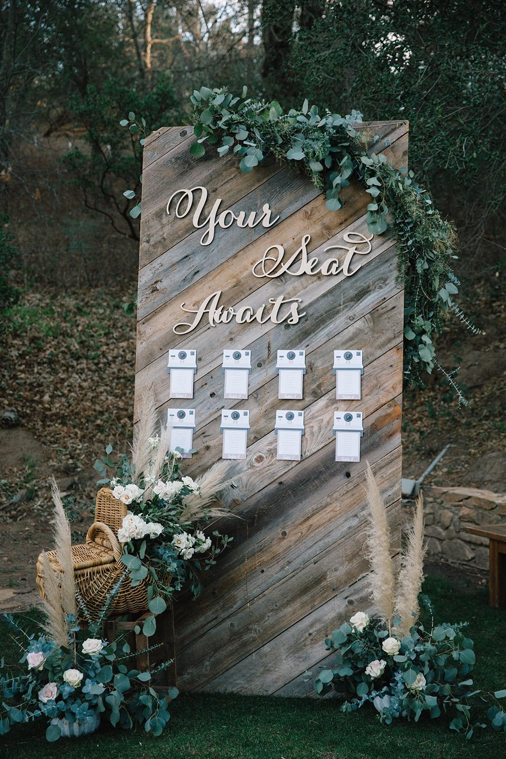 rustic chic wedding seating display