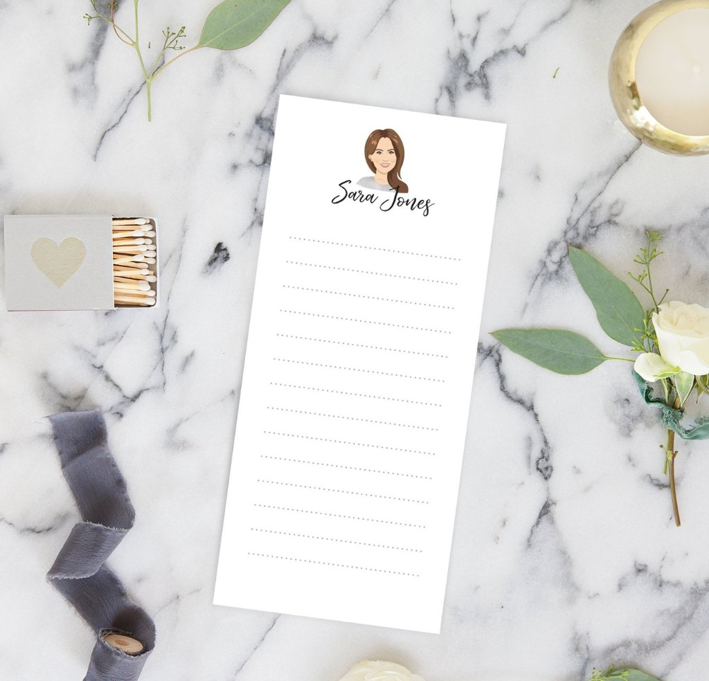 These Personalized Portrait Notepads from Miss Design Berry are the perfect gift for any stationery lover or a friend who is always