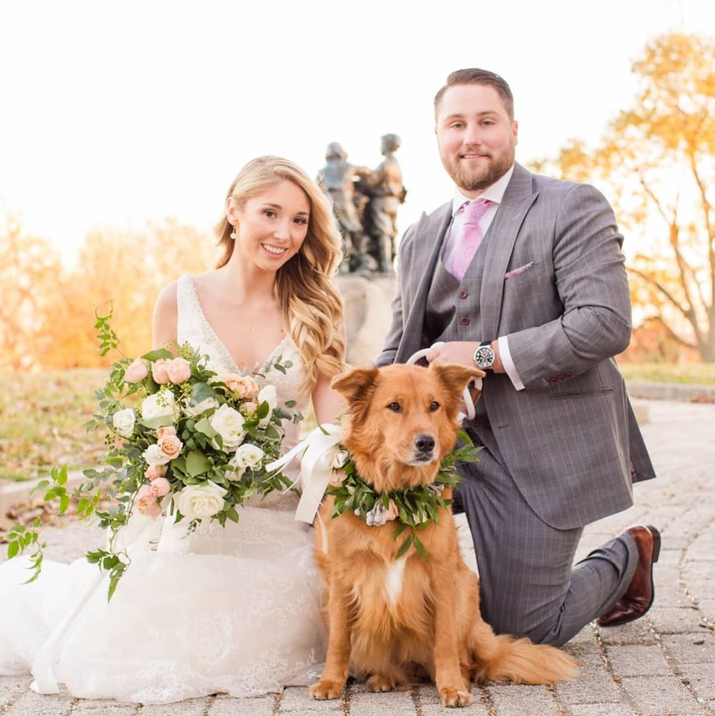 Who says flower crowns are just for humans? Adorn your pup for their walk down the aisle, too! Bonus points if your doggo's florals