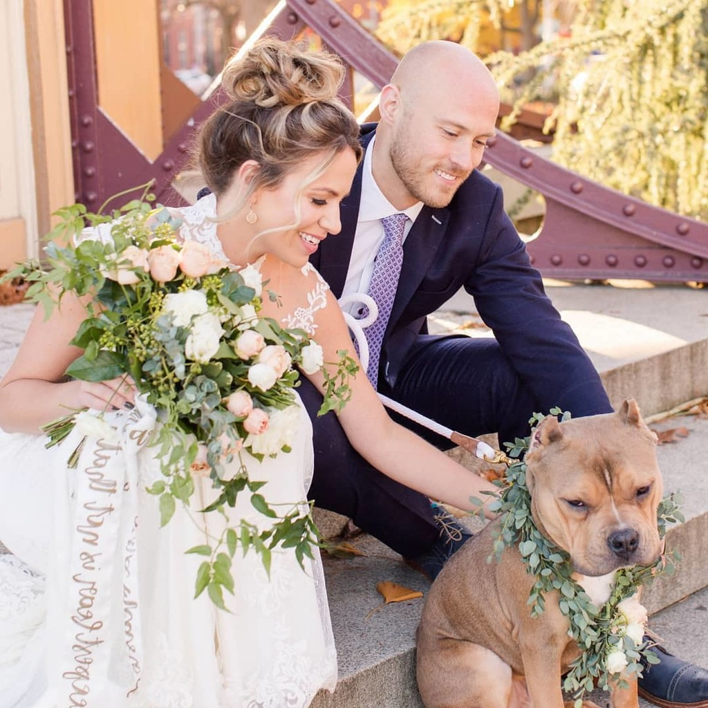 Feature your pup in your wedding as ring bearer or honored guest! A wreath collar that matches your bouquet will make all the guests
