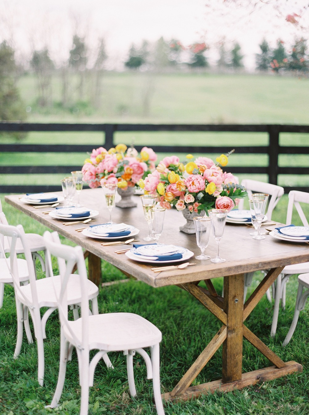 rustic chic spring wedding table