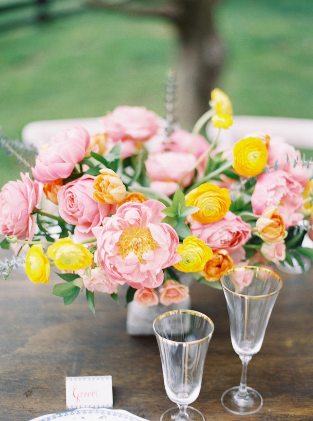 pink and yellow wedding floral decor