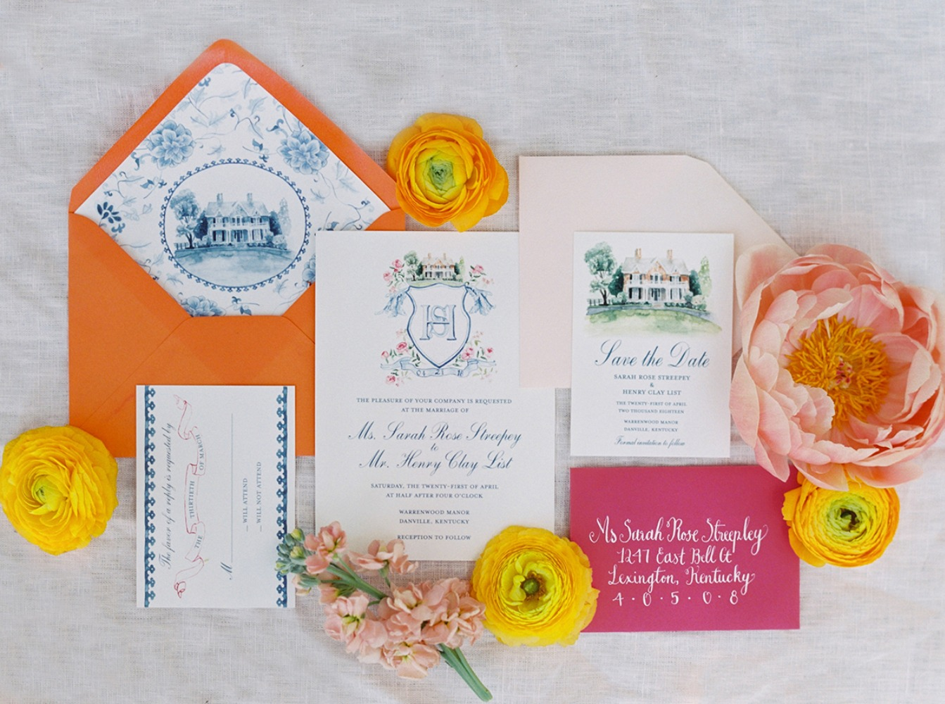 bright and exciting spring wedding stationery