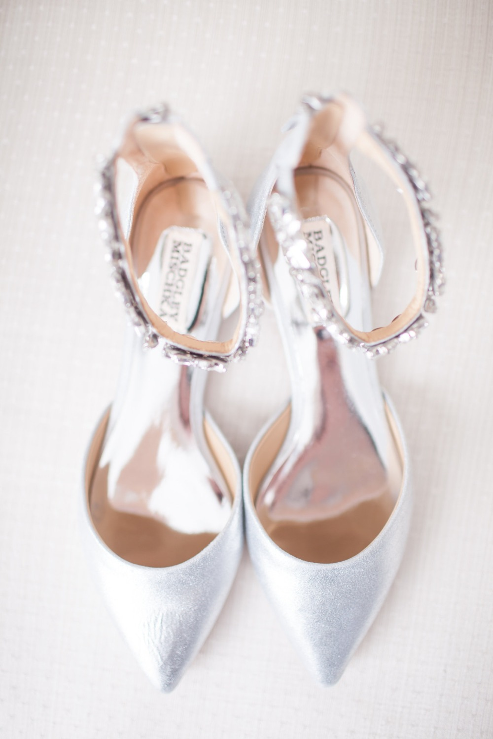 white and glittery wedding shoes