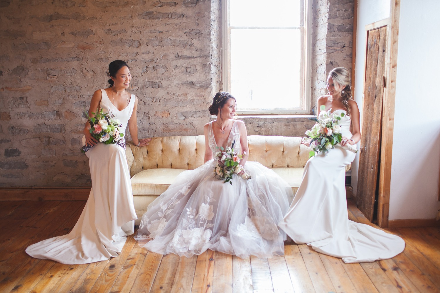 romantic bridal party in shades of white