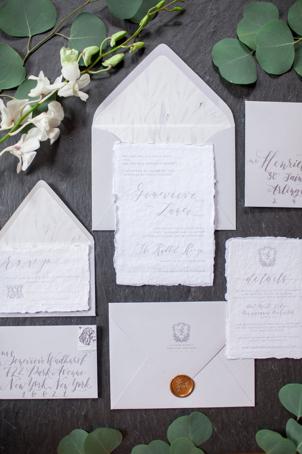 romantic calligraphy wedding invitation suite