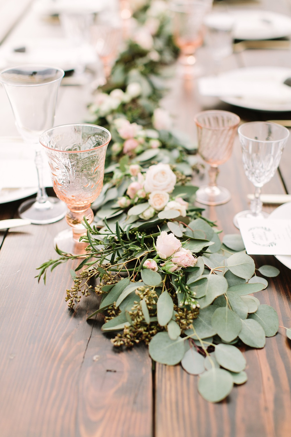 eucalyptus garland table centerpiece