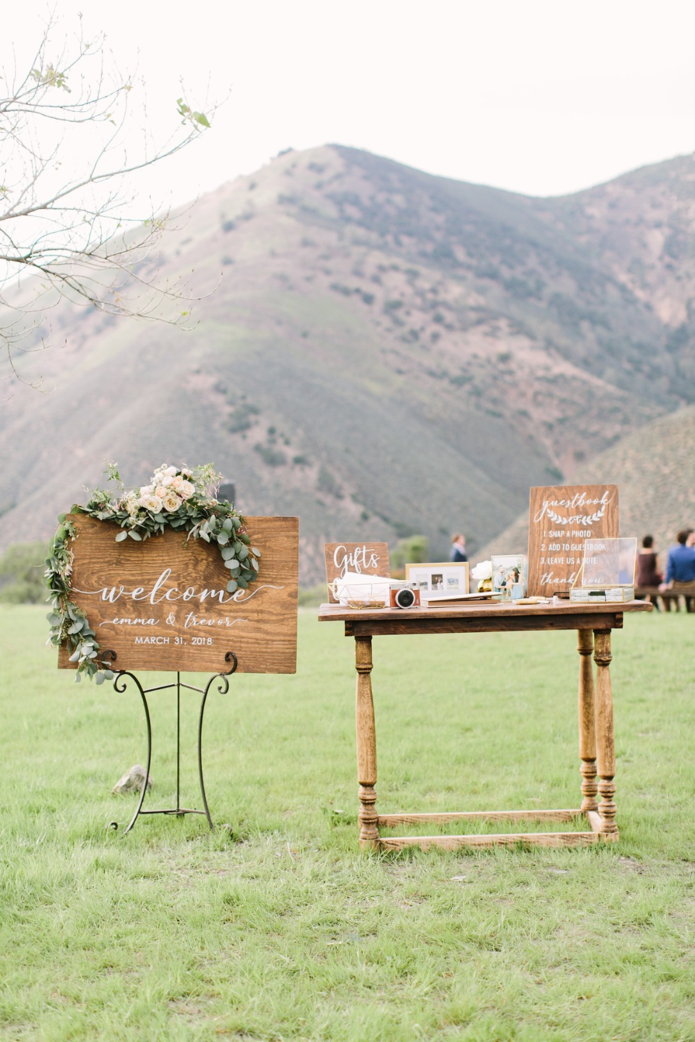 wedding welcome sign and table