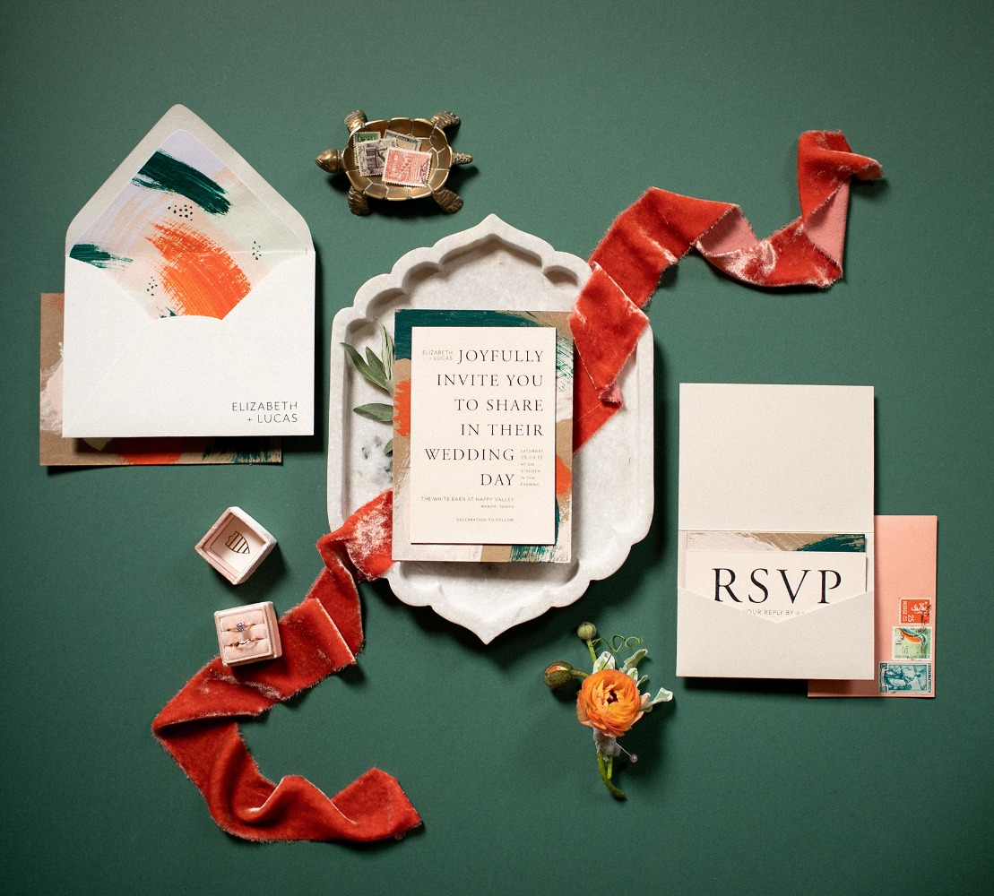 paint inspired modern wedding invitation suite