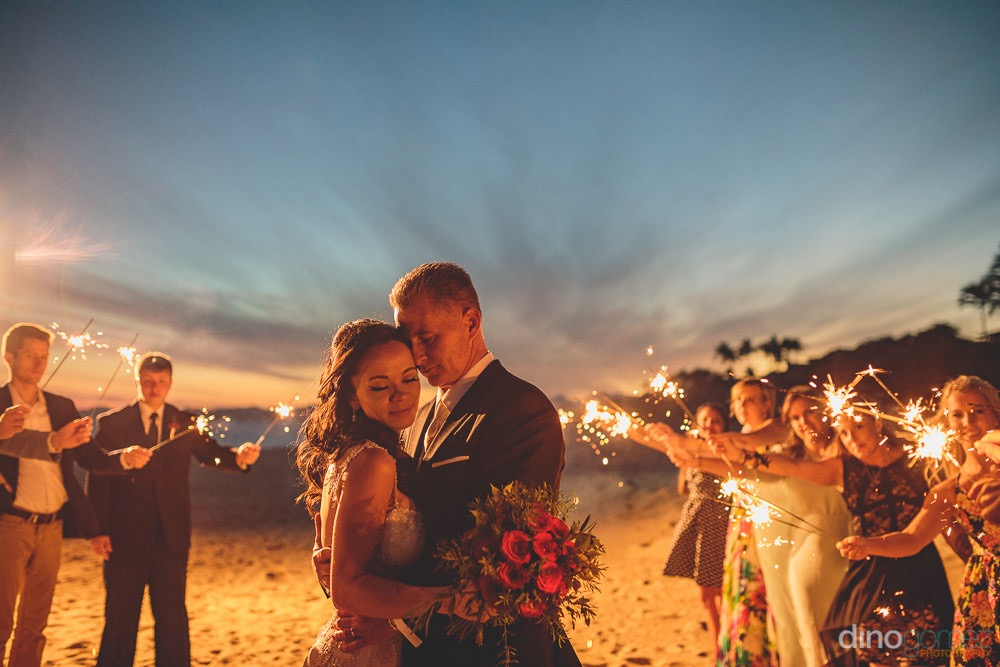 Sunset and sparklers for a Los Cabos Destination Wedding
