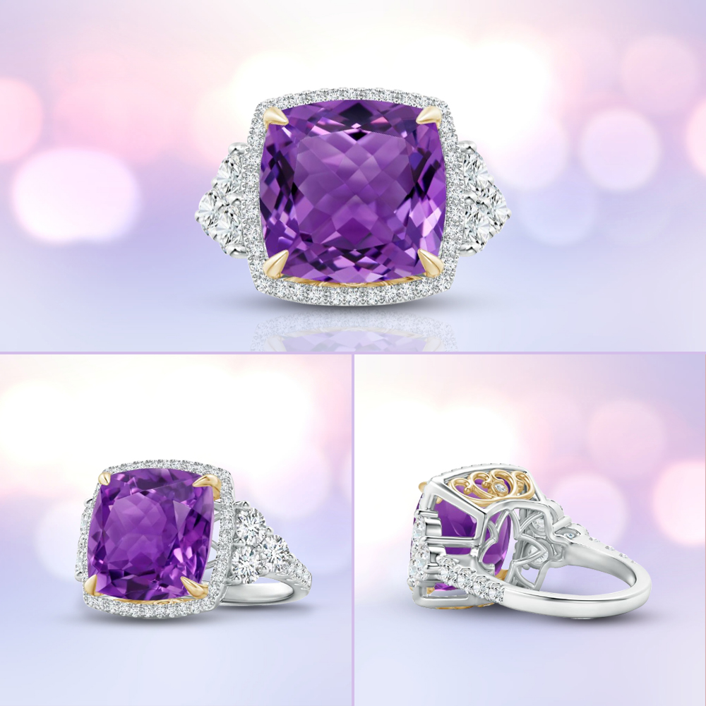 Nestled between sparkling trio diamonds, the GIA certified cushion amethyst draws the eyes with its purple resplendence. It is a stunning