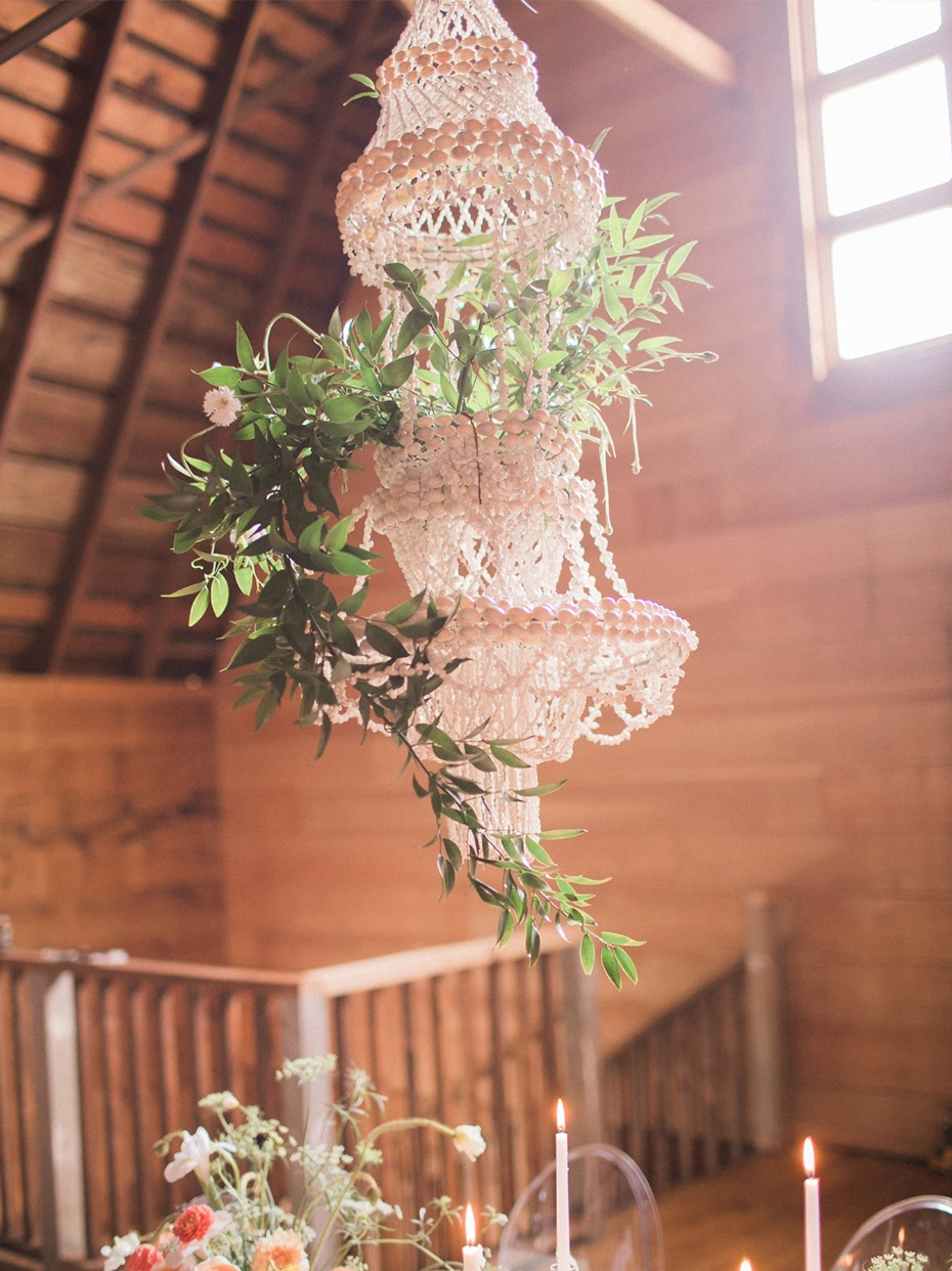 macrame and floral chandelier
