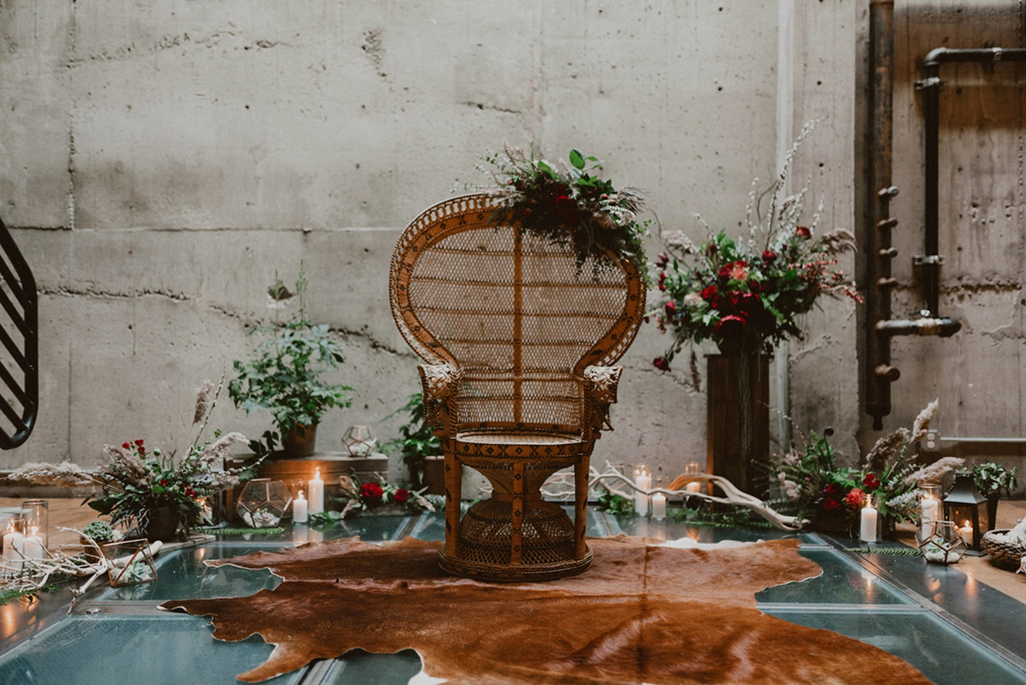 boho chic wedding decor with an industrial twist