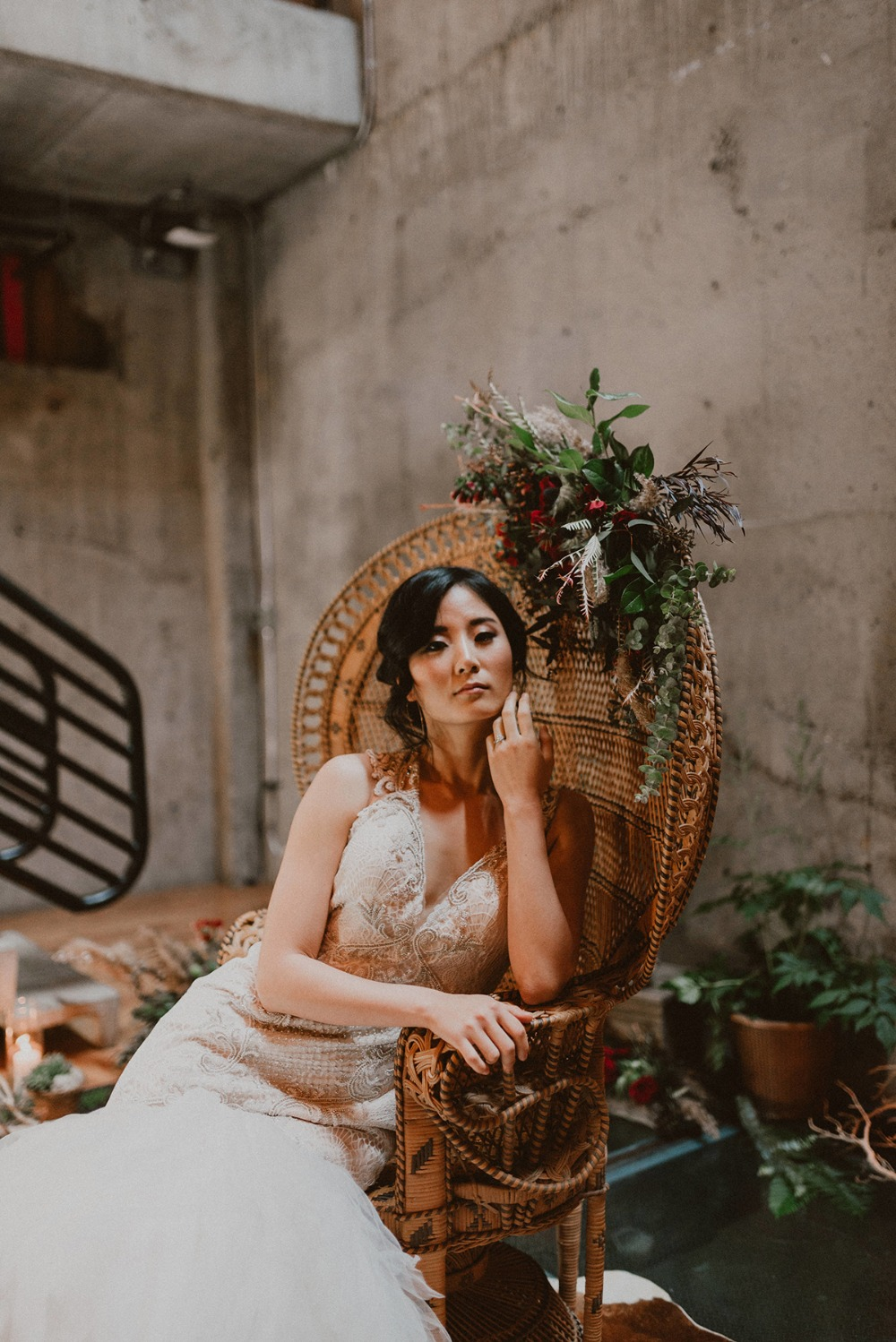 wicker wedding throne