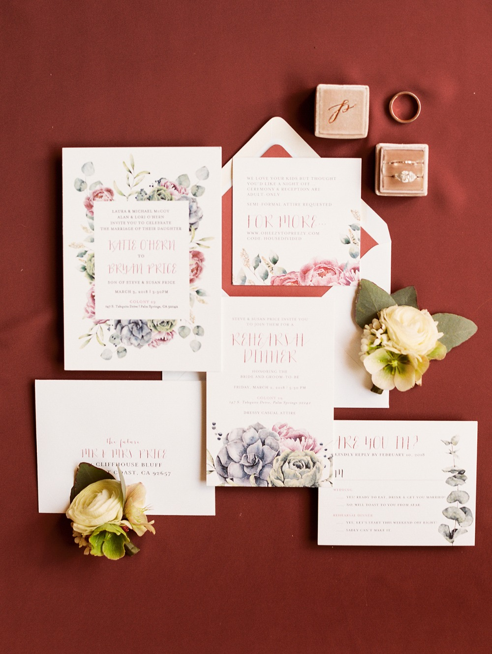 floral themed wedding stationery