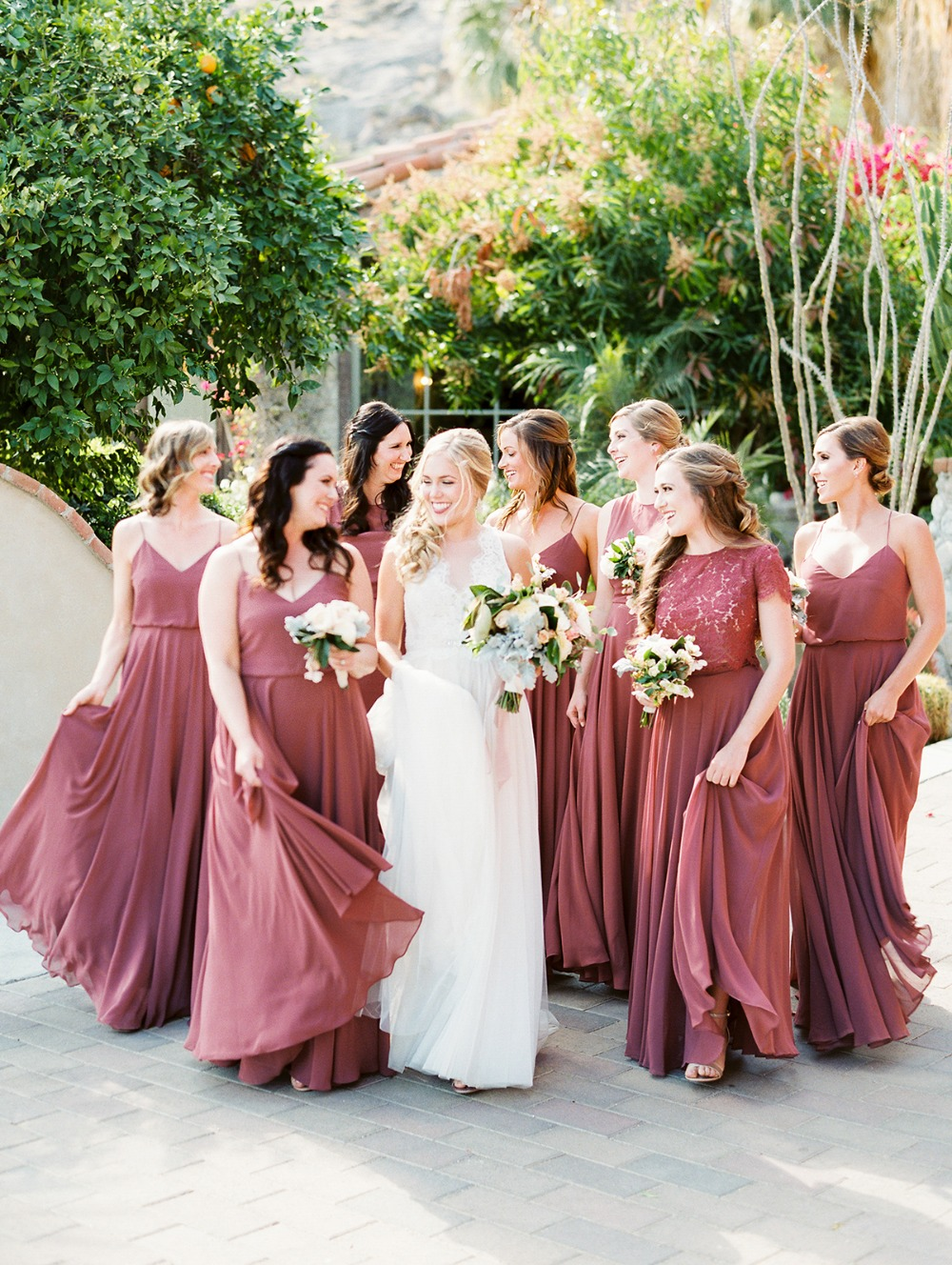 dusty rose wedding party